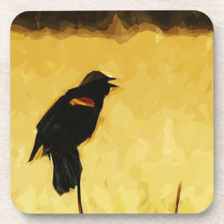 Red-Winged Blackbird Singing Abstract Drink Coaster