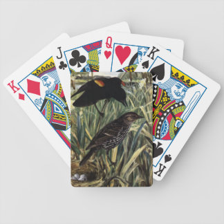 Red-Winged Blackbirds and Nest in Cattails Bicycle Playing Cards