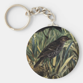 Red-Winged Blackbirds and Nest in Cattails Keychain