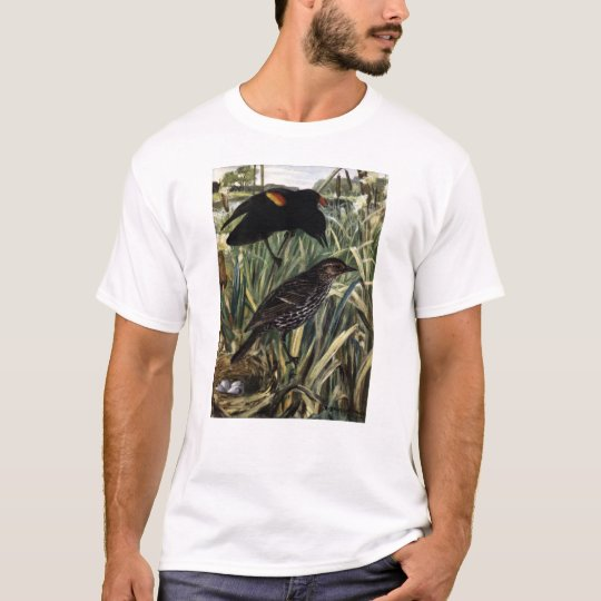 Red-Winged Blackbirds and Nest in Cattails T-Shirt