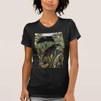 Red-Winged Blackbirds and Nest in Cattails Tee Shirts