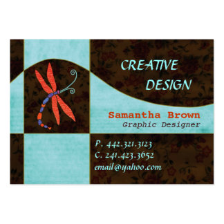 Red Winged Dragonfly Contemporary Business Cards
