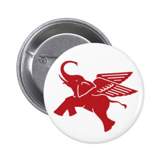 Red winged elephant button