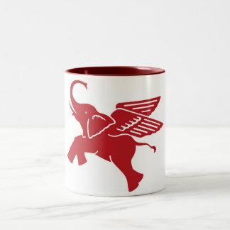 Red winged elephant Two-Tone coffee mug
