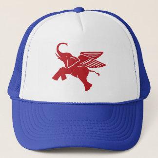 Red winged elephant trucker hat