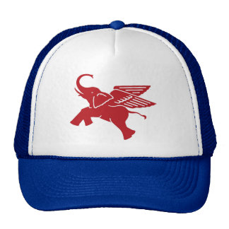 Red winged elephant trucker hat