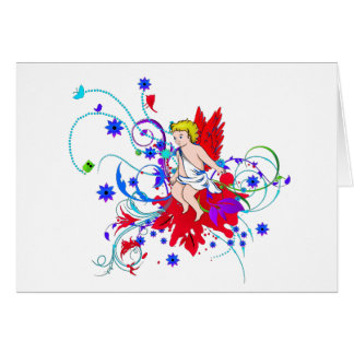 Red Winged Faerie (Fairy) Card