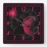 Red Winged Fairy Wall Clock