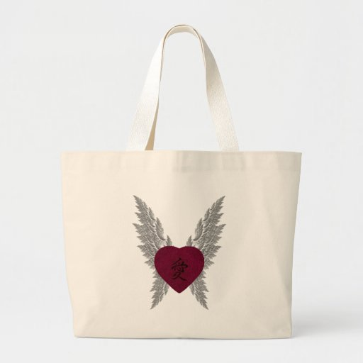 Red Winged Heart Canvas Bag