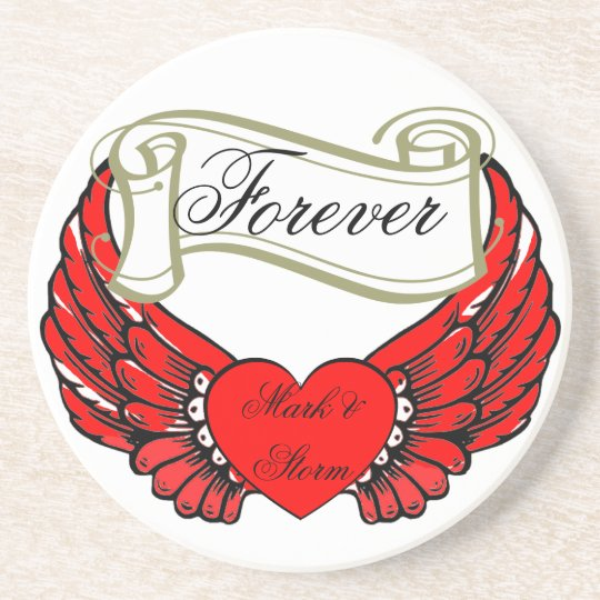 Red Winged Heart, Mark and Storm, Scroll Forever Drink Coaster