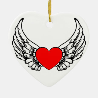 Red Winged Hearts Ornament