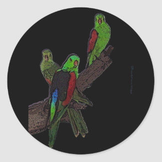 Red Winged Parrot Classic Round Sticker