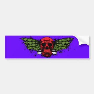 Red winged skull bumper sticker