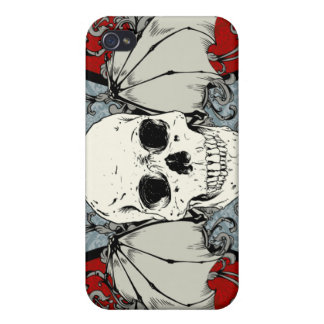 Red Winged Skull Gothic Damask iPhone 4 Case