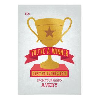 Red Winner's Trophy Classroom Valentine Card