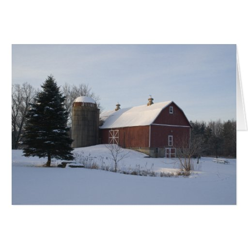 Red Winter Barn Greeting Cards