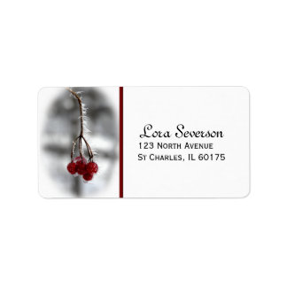 Red Winter Berries Return Address Label