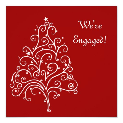 """Red Winter Engagement Party Invitation 5.25"""" Square Invitation Card"""