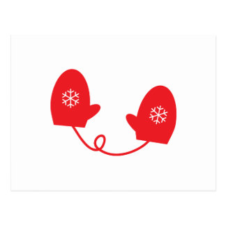 Red Winter Mittens Postcard