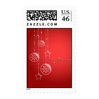 red winter postcard stamp