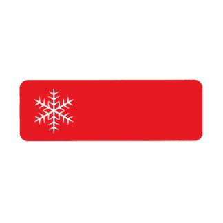 Red winter snowflake Christmas Holiday blank Custom Return Address Label