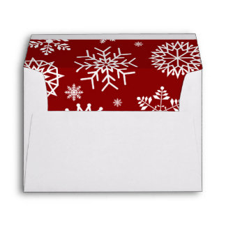 Red Winter Snowflake Christmas Holidays Envelope