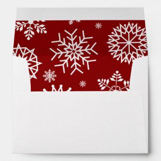 Red Winter Snowflake Christmas Holidays Envelope