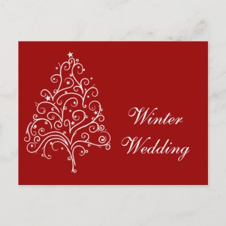 Red Winter Wedding Announcement Postcard