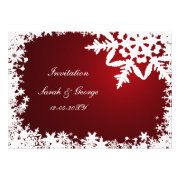 red and white snowflakes winter wedding invites by mgdezigns