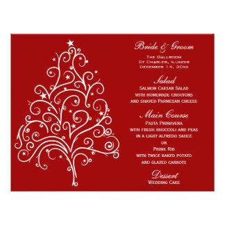 Red Winter Wedding Menu Flyer Design