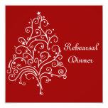 "Red Winter Wedding Rehearsal Dinner Invitation 5.25"" Square Invitation Card"