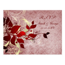 red winter Wedding rsvp card