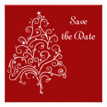 Red Winter Wedding Save the Date Announcement
