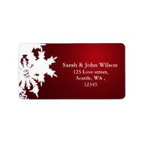 red winter wedding snowflake return address label