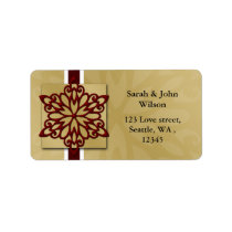 red winter wedding snowflake return address label