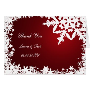 red winter wedding Thank You Card