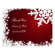 red winter wedding Thank You Postcard