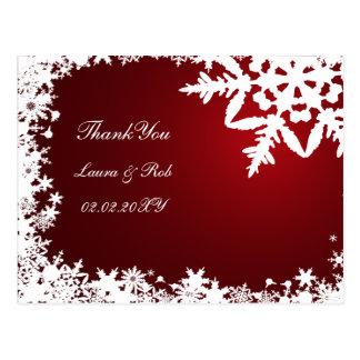 red winter wedding Thank You Postcard