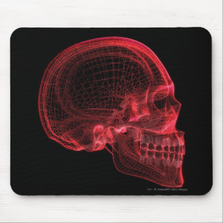 Red wireframe of a skull mouse pad