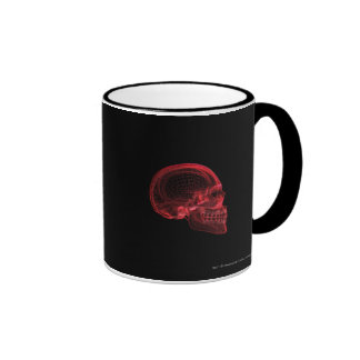 Red wireframe of a skull ringer coffee mug