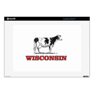 """red Wisconsin cow 15"""" Laptop Skins"""
