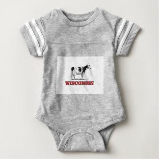 red Wisconsin cow Baby Bodysuit