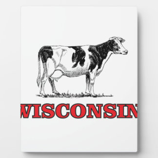 red Wisconsin cow Plaque