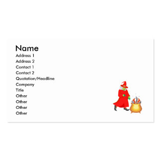 Red witch with cauldron business card templates