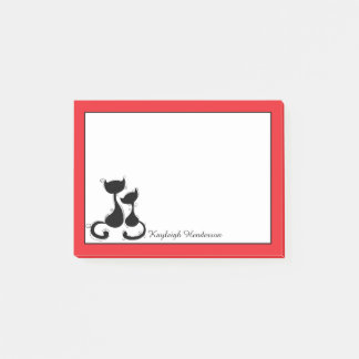 Red with Black Cats Silhouette Personalized Post-it Notes