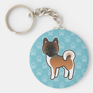 Red With Black Mask Akita Dog Cartoon Illustration Keychain