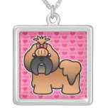 Red With Black Mask Cartoon Shih Tzu Love Pendants