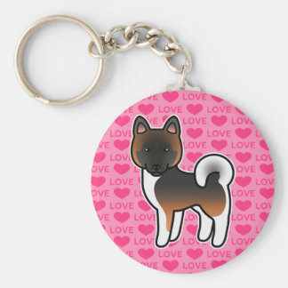 Red With Black Overlay Akita Dog Love Pink Keychain