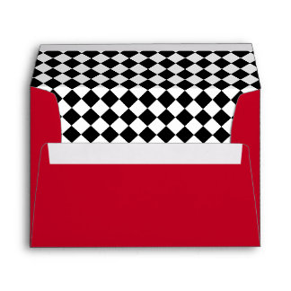 Red with Black & White Checkered Lining Envelope