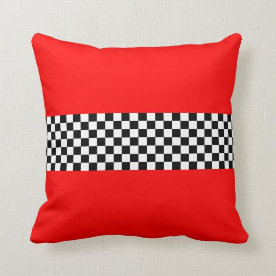 Red with Black White Checkered Stripe Pillow